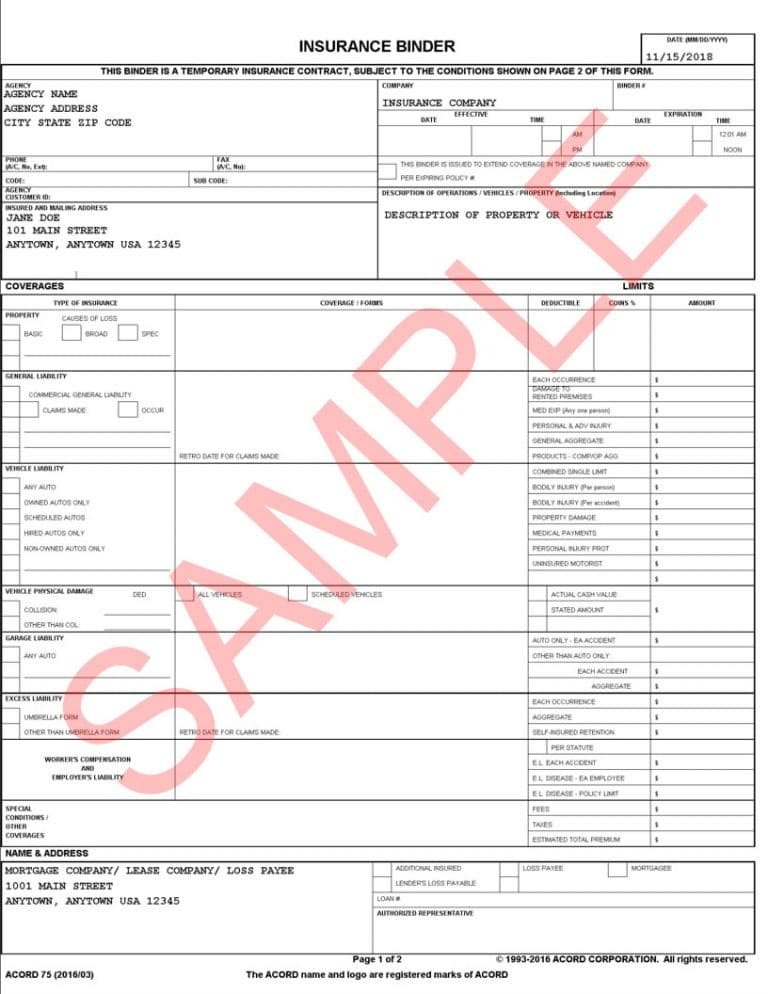Insurance Binder Sample