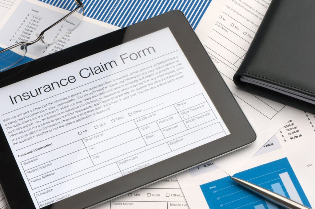 insurance claim form on a tablet