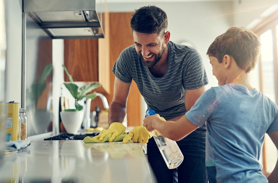The super disinfecting son and dad duo