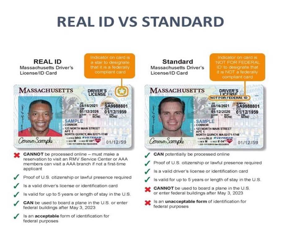 REAL ID VS STANDARD ID INFOGRAPHICS FOR MASSACHUSETTS RESIDENTS